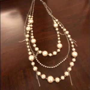 Silver + Pearl Multiple Tiered Necklace